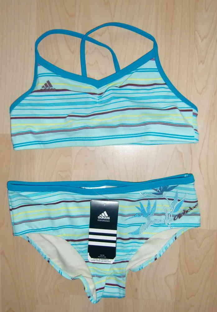 adidas Bustier Bikini himmelblau und blau - Gr. 164 cm ( 158 / 164 ) NEU